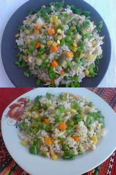 OREZ PRAJIT CU OUA SI LEGUME | Diva in bucatarie Fried Rice, Cobb Salad, Grains, Food And Drink, Ethnic Recipes, Projects, Diet, Log Projects, Nasi Goreng