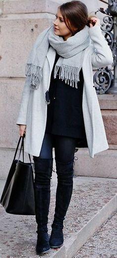 Gray scarf, gray coat, black sweater, black jeans, black OTKB, Black tote | Hello weekend| Mariannan