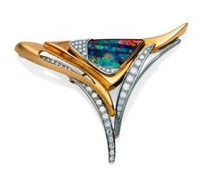 A diamond and opal brooch, of abstract triangular design, set… - Brooches - Jewellery - Carter's Price Guides to Antiques and Collectables