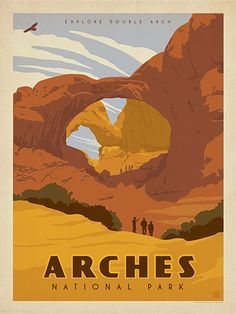 Arches National Park: Double Arch - Anderson Design Group has created an award-winning series of classic travel posters that celebrates the history and charm of America's greatest cities and national parks. Founder Joel Anderson directs a team of talented artists to keep the collection growing. This classic-looking print celebrates the majestic beauty of the Double Arch in Arches National Park.