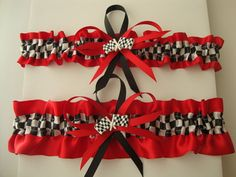 Red Satin Wedding Garter Set with Checkered Flag by StarBridal, $29.95