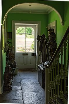 The entrance hall at Edensor. Great green!!