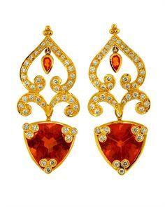 Sunstone earrings by Paula Crevoshay Garnet Jewelry, Star Jewelry, Fine Jewelry, Jewellery, Yellow Jewelry, Red Jewelry, International Jewelry, Opal Earrings, Unique Earrings