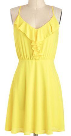Bright yellow ruffled dress