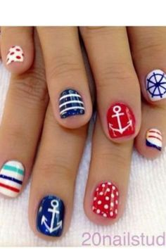 nautical nails #Summer #Nails #DIY Would never wear it BUT I love it!!!