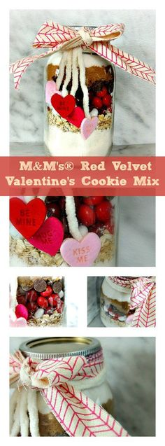 Cookie mix in a jar is a great Valentines' Day gift - especially when it's M&M'S Red Velvet Valentine's Cookie Mix!
