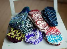 Ann's pile of cozy mittens - amazing = going to have to transcribe these patterns into crochet ☺