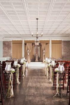 Rustic Indoor Winter Wedding Ceremony Setting Weddingaisle