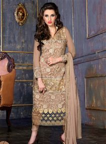 Stylish Straight Cut Georgette And Net Salwar Suit