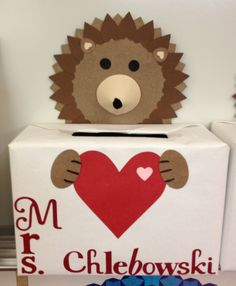 Hedgehog Valentine box.  They have a hedgehog in the kids classroom.