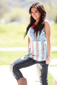 Modern Vintage Boutique - Faded and Studded Flag Tank, $32.00 (http://www.modernvintageboutique.com/faded-and-studded-flag-tank.html)