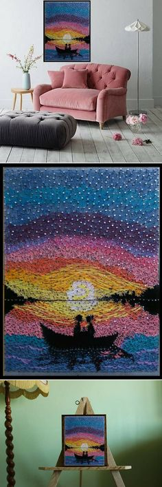 Absolutely amazing romantic landscape Moon River string art #stringart #ad #wallart #walldecor #homedecor #handmade #romantic #painting #landscape #moon #river #romantic #giftideas #weddinggifts