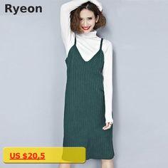 Ryeon Spring Knitted Jumper Dress Sweater Dress Preppy V-neck Retro Solid Color Midi Ladies Sweat Dress Slip Dress