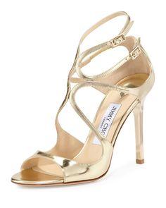 Jimmy Choo Gold Metallic Open Toe Strappy Sandal NMS16_X2W2K