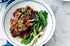Asian-Style Braised Beef Short Ribs with Chinese Broccoli by Taste. For a slow cooked Asian recipe, look no further than this beef short ribs recipe. Chinese Broccoli Recipe, Broccoli Recipes, Rib Recipes, Asian Recipes, Savoury Recipes, Smoker Recipes, Asian Foods, Family Recipes, Recipies