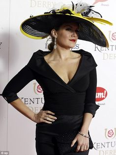 KENTUCKY DERBY 2013 | Miss America 2013 Mallory Hagan turned out in a black ensemble trimmed with bold yellow