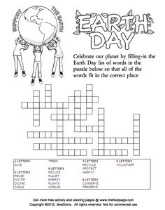 Support The Earth Day Fill In Puzzle
