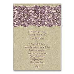 Make this lace all about your wedding! Choose the color of the lace and add your personalization to the rustic kraft invitation for unique style. #Invitations