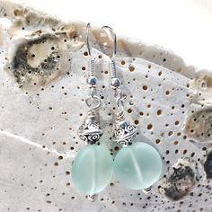 f3f28fa8245f Aqua Sea Glass Earrings Beach Jewelry Ocean Jewelry Sea Pendientes De  Perlas