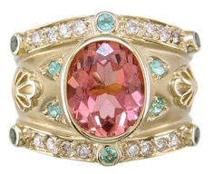 Salmon tourmaline, paraiba & diamond cigar band ring by Judy Mayfield on We Heart It