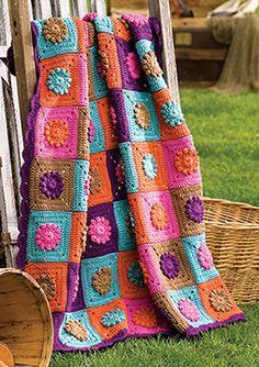 Afegão em Crochê com Flores Quadrados -   🌸🌼 🌺 Afghan Crocheted with  Flowers Square - 1cba1972bd
