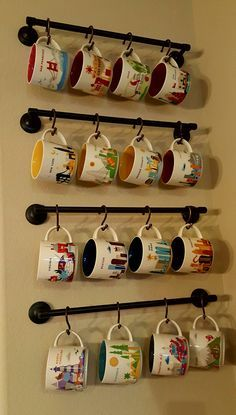 "Fun afternoon project with my wonderful husband: Starbucks ""You Are Here"" Collection displayed"