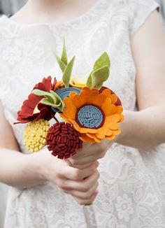 "Felt Floral Bouquet - ""Rustic Sunset"" - Flowers for the Home, Bridesmaid Bouquet"