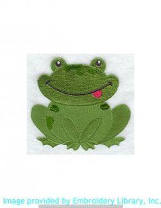 Stickmotiv Stickbild Aufnäher Stickerei Emblem Frosch  Frosch /  Stickerei Playful Frog (H5262)