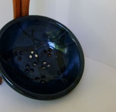 Vintage NC pottery berry bowl, Rick Urban signed, hand thrown clay, hand crafted, dark blue black with subtle designs - pinned by pin4etsy.com