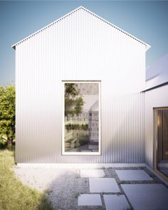 """""""House for mother"""" is a work in progress. The project is located in Linköping, Sweden. Brilliant use of raw material (facades and roof are covered with, corrugated aluminium) to create this house. Architecture Durable, Architecture Résidentielle, Metal Siding, Metal Cladding, Timber Structure, Small Courtyards, Aluminium Doors, Shed Homes, Types Of Houses"""
