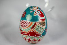 ukrainian egg patterns | Red Bird Chicken Egg Pysanka, Ukrainian Ester Egg, Batik Painted