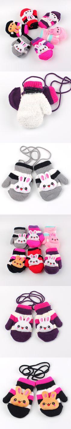 Fashion Children Gloves Mittens Kids Cute Animal Rabbit Knit Wool Glove Winter Pack Mitten Pretty Girls Boys Hand Accessories
