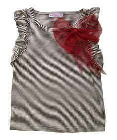 Look at this #zulilyfind! Mini Treasure Kids Black Stripe Bow Selena Top - Girls by Mini Treasure Kids #zulilyfinds