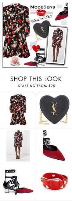 """Happy Valentine's Day Outfit"" by modesens ❤ liked on Polyvore featuring VIVETTA, Yves Saint Laurent, Robert Clergerie, self-portrait and Tory Burch"