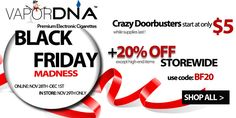 """The VaporDNA Black Friday Madness Sale has just went live! Click the link below and check out the doorbusters starting at just $5, $10 & $15. And if the doorbusters don't do it for you... everything else on the site is 20% off with the coupon code """"BF20""""! http://gotsmok.com"""