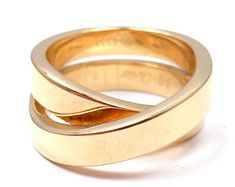 Cartier 18k Yellow Gold Nouvelle Vague Crossover Ring sz 50 5.5