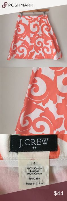 J. Crew Coral Filigree Print A-Line Cotton Skirt Beautiful Cotton A-line skirt in white with Coral filigree print by J. Crew. 100% cotton. Size 4. Great preowned condition. J. Crew Skirts A-Line or Full