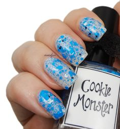 Cookie Monster from Whimsical Polish. Manicure by XOXO Jen