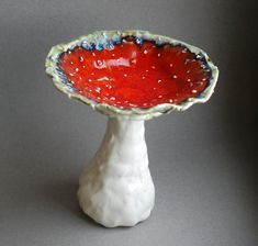 Mushroom vase Ceramic sculpture Red Amanita statuette Candy bowl Decorative vase figurine Alice in wonderland style Decorative Centerpiece Clay Art Projects, Ceramics Projects, Ceramics Ideas, Polymer Clay Crafts, Diy Clay, Ceramic Pottery, Ceramic Art, Ceramic Pinch Pots, Biscuit