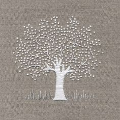 Jo Butcher, Embroidery Artist - White Tree on Linen Kit