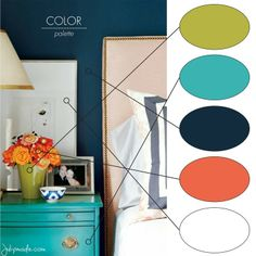 color palette: green, turquoise, navy, orange, white  We have turquoise counter tops and are plannign on painting the walls the melon color, possibly a navy backsplash.