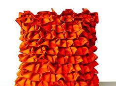 "Orange Pillowcases in Fun Flirty Ruffles Design - Decorative Throw Pillow Cover in Orange Satin - Handmade Satin Pillowcovers - Pretty Orange Throw Pillows - Ruffled Throw Pillow Covers - Ruffle Cushion Covers (14"" x 14"") Amore Beaute http://www.amazon.com/dp/B00V83WG0K/ref=cm_sw_r_pi_dp_uQcsvb0W32EMS"