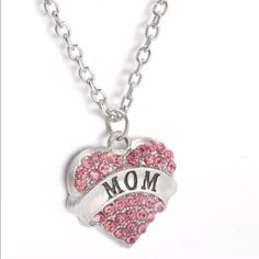 """Mom Necklace✨LAST ONE✨ Beautiful mom necklace with pink rhinestones. Silver toned zinc alloy. New in package. Chain is about 25"""". Jewelry Necklaces"""