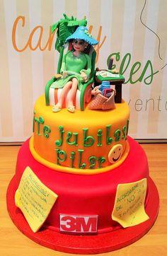Cake retired fondant Tarta jubilación fondant