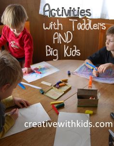 What can I do with my toddler while I work with my big kids? 7 Tips for Toddler Activities While You're Busy With the Big Kids (Hands on As We Grow) Craft Activities For Kids, Toddler Activities, Learning Activities, Games For Kids, Kids Learning, Kid Crafts, Kid Games, Craft Ideas, Early Learning