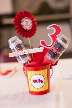 Fire Truck Themed Birthday Party with Lots of Really Cute Ideas via Kara's Party Ideas   KarasPartyIdeas.com #FiremanParty #FiretruckParty #...