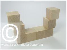 Gift 3 Froebel:  Wikingerschiff aus Holzbausteinen natur (mit Spielgaben nach Froebel)