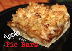 APPLE PIE BARS For the Crust you will need: 1 egg 2 sticks of butter softened 1/2 cup sugar 2 cups of flour 1/2 tsp salt For the Filling you will need: 4 large apples, peeled, cored and sliced 4 tablespoons melted butter 1/2 Cup brown sugar 2 tsp cinnamon 1/2 tsp nutmeg For the Topping you will need : 2/3 cup brown sugar 2/3 cup flour 4 tablespoons butter melted What you do: 1.Preheat oven to 350... line a 13 x 9 pan with parchment paper and set aside 2.Make your crust in a large bowl,, comb
