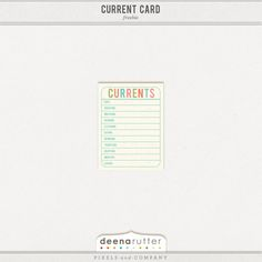 Free Currents Journal Card from Deena Rutter