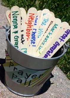 I think this would be a good idea for VBS or Sunday School projects. Prayer Pail to teach your kids the importance of praying for others All You Need Is, Just In Case, Dinner Prayer, Prayer Stations, Praying For Others, Kid Picks, Religion, Pots, Kids Church